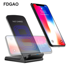 FDGAO Fast Wireless Charging Pad QI Induction Charger For Samsung Note8 9 S9 S8 Portable Stand iPhone X XS XR 8 Plus