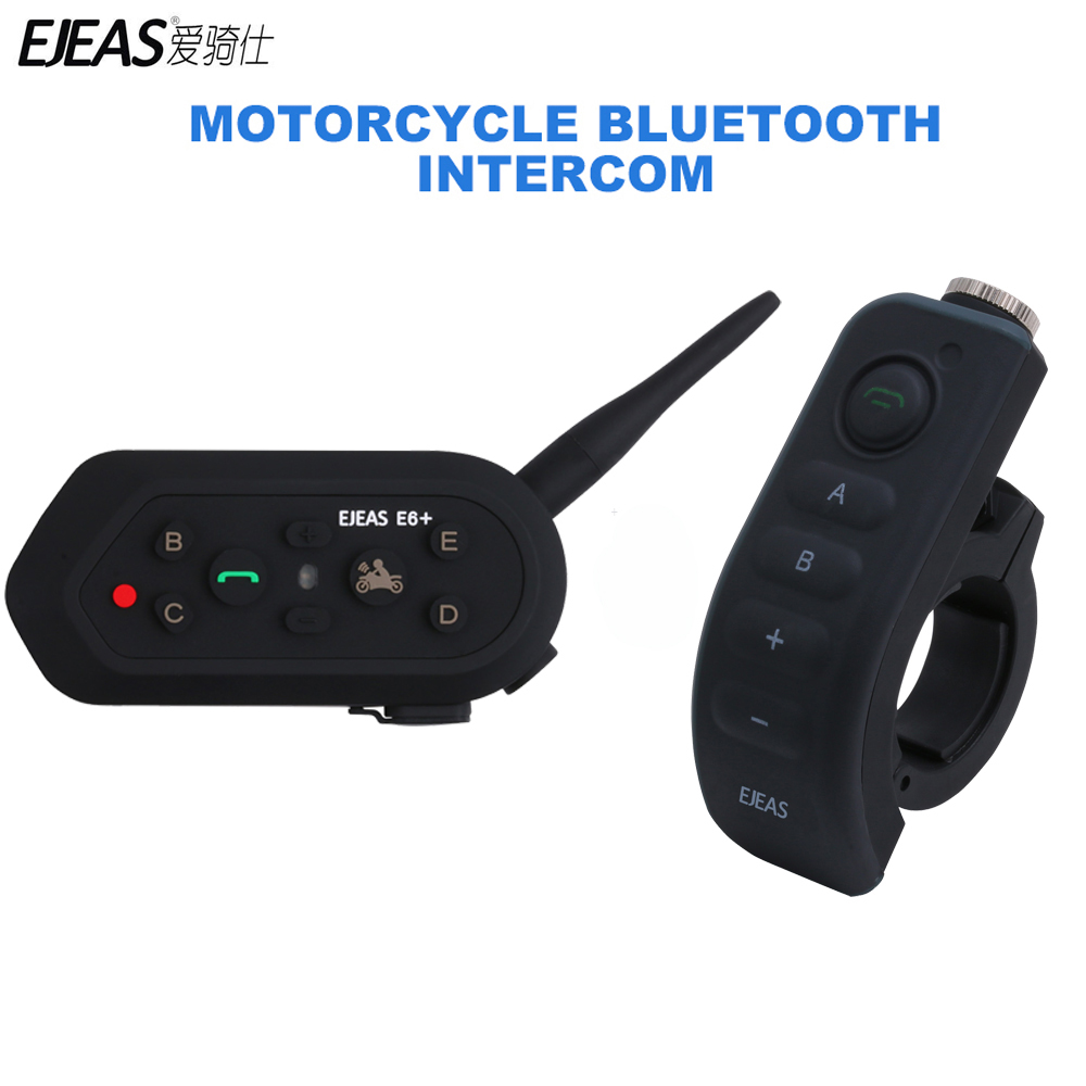 1200M EJEAS E6 Plus Motorcycle Intercom Communicator Bluetooth Helmet Interphone Headsets VOX with Remote Control for 6 Riders