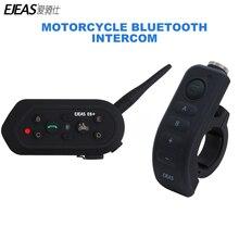 Ejeas e6 plus comunicador para motocicleta, 1200m, comunicador, bluetooth, interfone, fone de ouvido vox, controle remoto para 6 pilotos