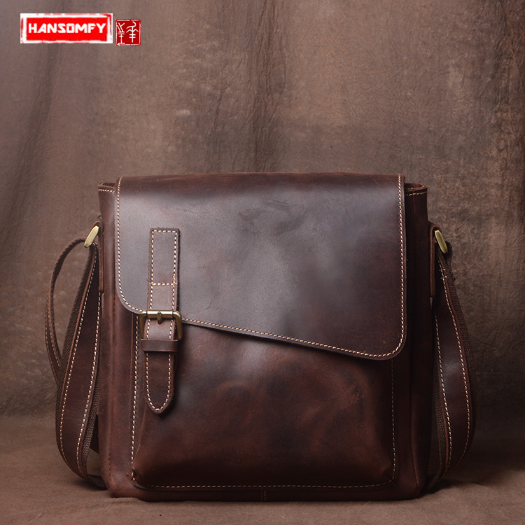 Handmade original men's bag British casual crazy horse leather shoulder bag male Retro Vertical section crossbody Messenger bag цена