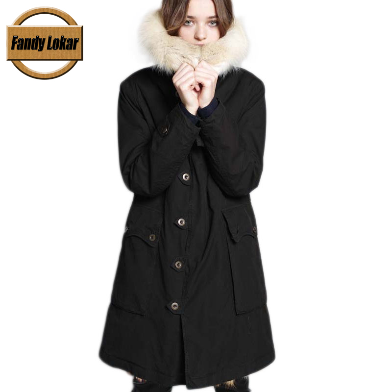 Solid Color  Long Warm Fox Fur Collar Coat Women Winter Real Fox Fur Liner Hooded Jacket Women Bomber Parka Female Ladies FP9122 printed long raccoon fur collar coat women winter real rabbit fur liner hooded jacket women bomber parka female ladies fp896