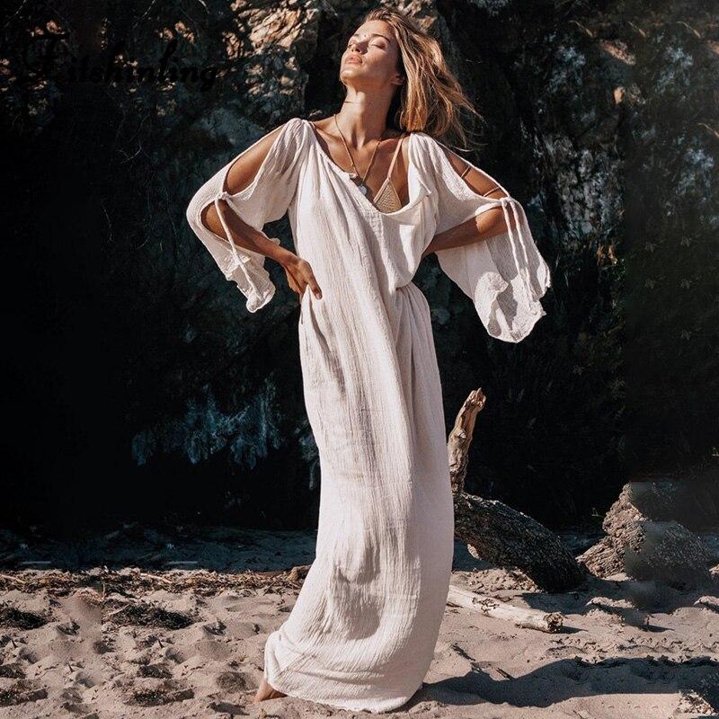 Fitshinling Della Boemia open spalla lungo vestito dalla spiaggia di estate di vacanza sexy hot bianco parei 2020 con scollo a v solid maxi vestiti delle donne