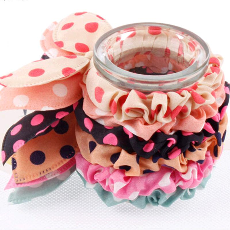 Small Rabbit Ear Hair Scrunchies Stripes Dots Lovely Colors Knot Women Kids Ponytail Holder Bow Gum   Headwear   Hair Accessories