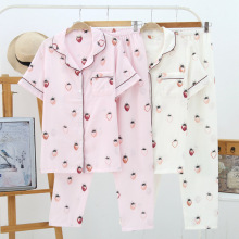 100% Cotton Short Sleeve Turn Down Collar Pajama Sets Women