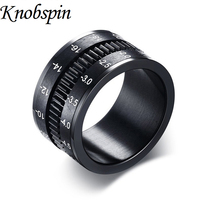 12MM Rotary Camera Lens Titanium Steel Ring For Men Classic Black Anniversary Jewelry Fashion Men S