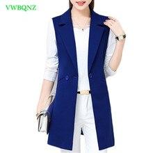 Chaleco de mujer rebelde para primavera y otoño, ropa coreana larga y delgada, sin mangas, chalecos de talla grande para mujer, chaqueta, abrigo 3XL, A658