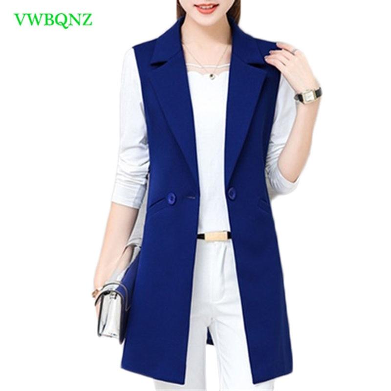 Spring Autumn Wild Female Vest Women Korean Long Slim Thin Sleeveless Suit Vests Women's Shoulder Plus size Jacket Coat 3XL A658-in Tank Tops from Women's Clothing