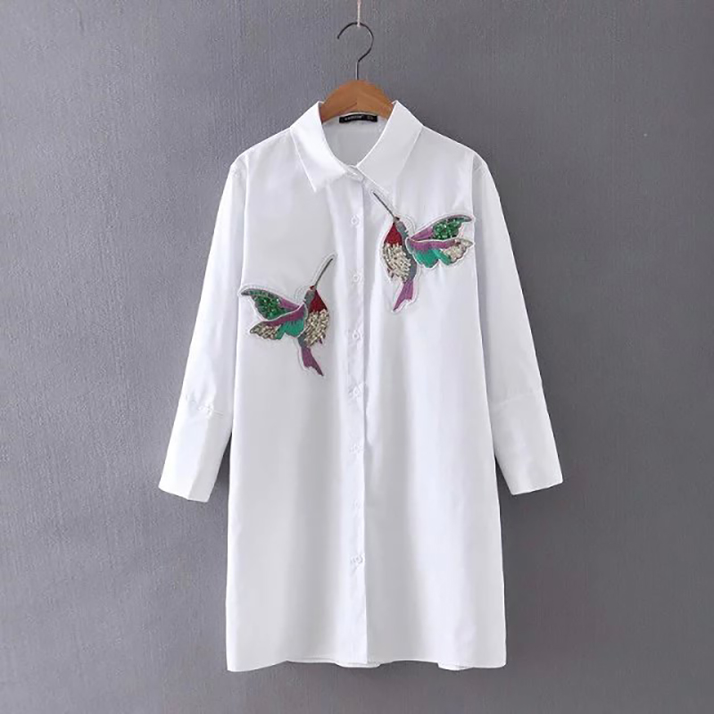 Hanyiren Women Bird Embroidered Blouse Fashion Long Sleeve High Quality White Turn Down Collar Shirt Women Tops Chemisier Femme
