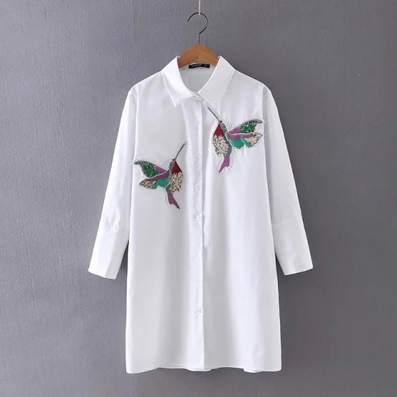 Hanyiren mujeres pájaro bordado blusa moda de manga larga de alta calidad Blanco turn down collar camisa mujeres tops chemisier femme