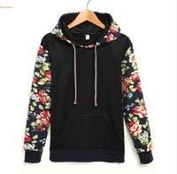 Women Tops 2017 Autumn Long Sleeve Rose Embroidery Sleeves Hooded Fashion Warm Female T Blusa Feminina