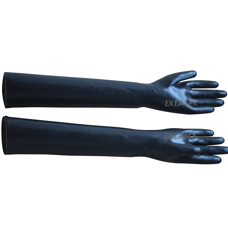 Search For Flights Latex Gloves Unisex Fitness Gloves Long Sleeve Gloves Latex Rubber Black Long Gloves Club Outfits Fetish Plus Size Mittens 58cm Men's Gloves