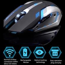 Souris Gaming sans fil Rechargeable 7 couleurs, confortable, respirante, pour ordinateur de bureau et ordinateur portable