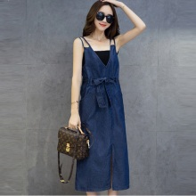 Verfalin 2017 Wanita Summer Sexy Denim Kasual Partai Split Panjang Dress / Vintage Wanita Spaghetti Tali Overalls Vestidos Denim Dress