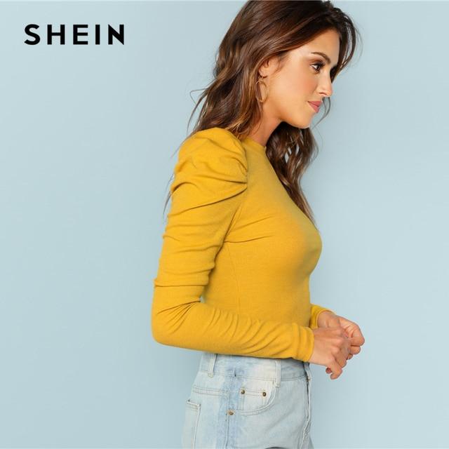 ee9fd32055 SHEIN Mustard Elegant Minimalist Puff Sleeve Rib Knit Solid Pullovers Slim  Fit Tee ...