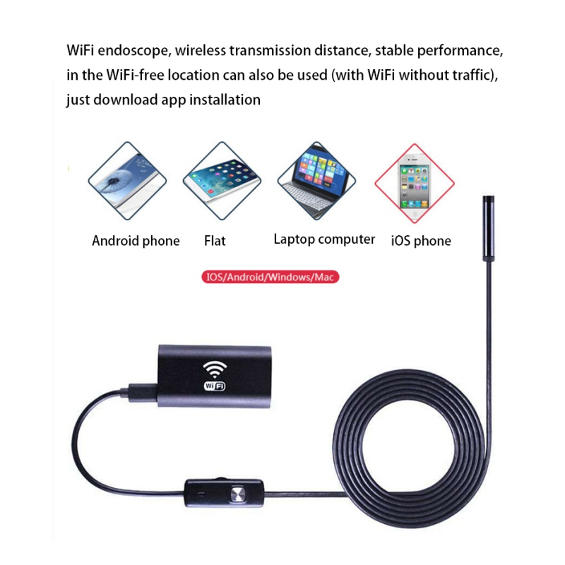 8mm Wifi Endoscope Soft Cable Mini Cameras for Iphone Android HD 720P Surveillance Endoscopes Inspection Cameras1/1.5/2/3.5/5M