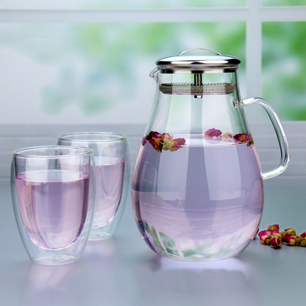 3in1 pindefang 2.0l Ice Чай кувшин + 2x350 мл Giftset боросиликатного Стекло бутылка для воды современный Посуда для напитков дома сок посуда