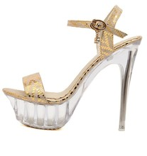 Big Plus Size 40-43 Gold Silver Women Wedding Bridal Fetish Shoes Clear Crystal Transparent Platform Stripper High Heel Sandals