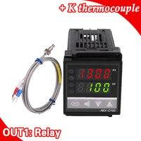 Двойной цифровой RKC PID регулятор температуры REX-C100 с датчиком термопары K, релейный выход