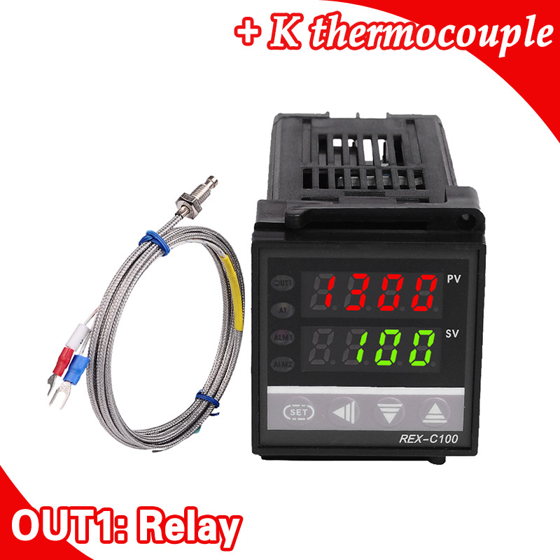 Dual Digital RKC PID Temperature Controller REX-C100 with Sensor Thermocouple K, Relay Output stc 1000 digital all purpose temperature controller with sensor for aquarium