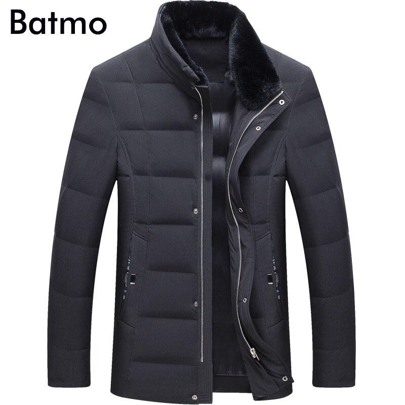 Batmo 2018 new arrival winter high quality warm 80% white duck   down   fur collars jakcet men,winter   coat   men,parka men,17083