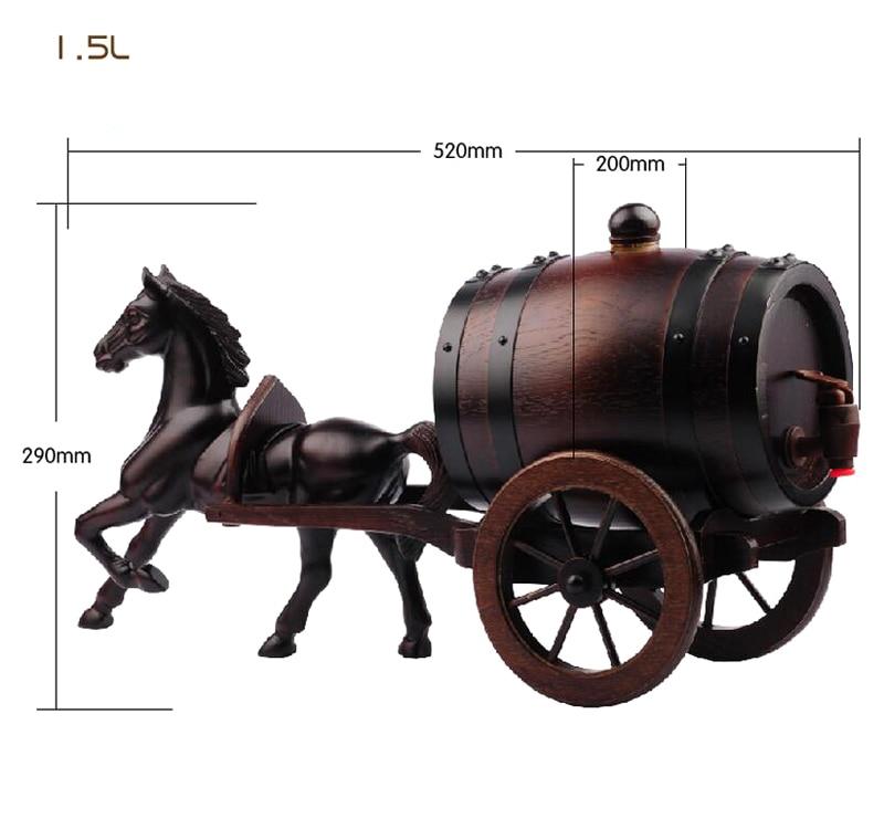 US $119 16 40% OFF|1 5 L Oak Barrels Double Horse Art Crafts Wine High  Decorative Barrel Keg Bucket Hotel Restaurant Exhibition Display Wood  JH142-in