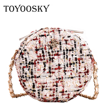 TOYOOSKY Round Crossbody Bags For Women 2019 Design Wool Mini Handbag Female Chain Shoulder Small Circle Clutch Bag