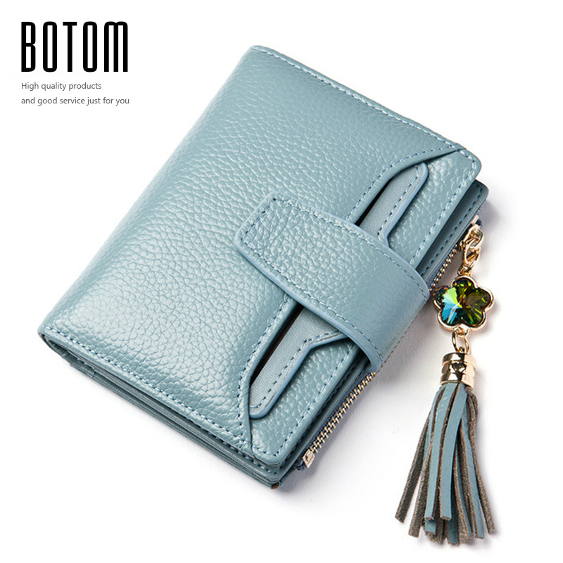 Botom Brand Genuine Leather Coin Purse Women Short Wallets Color Diamond Tassel Luxury Lady Clutch Wallet Cow 3 Fold Mini Purse 2017 genuine cowhide leather brand women wallet short design lady small coin purse mini clutch cartera high quality