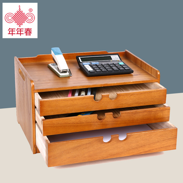 Solid Wood Office Supplies Desk File Drawer Storage Box Desktop Cabinet Table Small Finishing