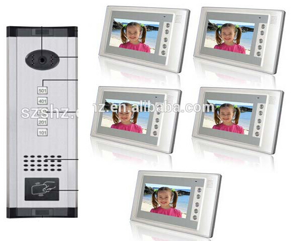 Fashionable and luxury panel wired  video door phone support ID card unlock 5 apartments intercom system for villa with camera