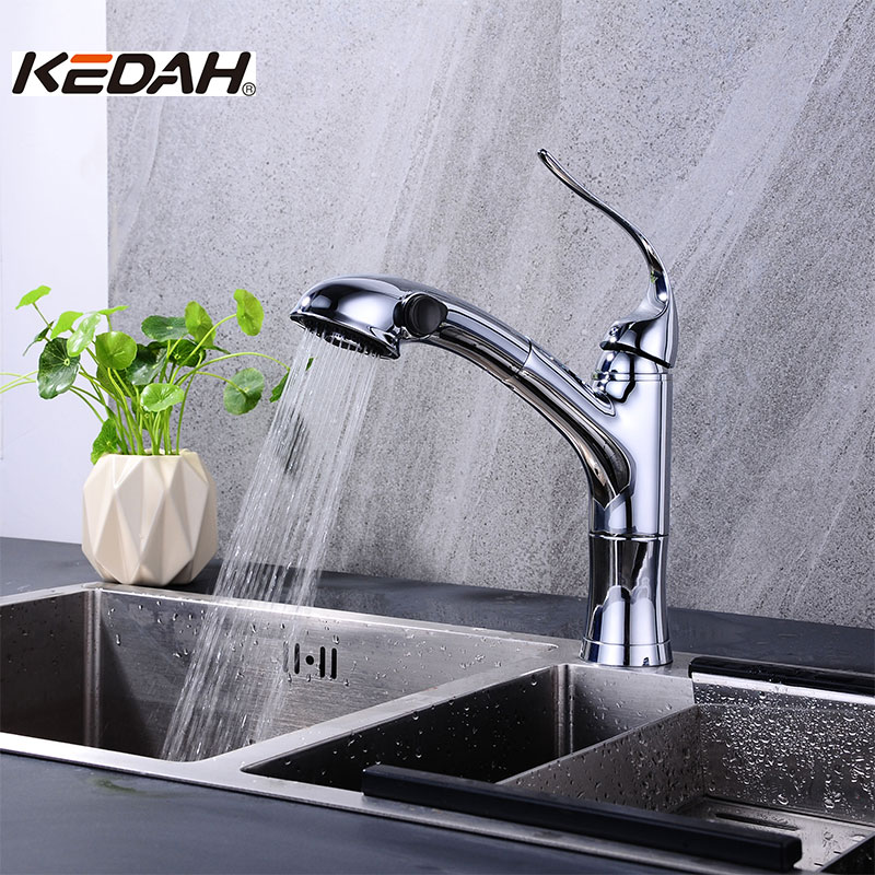 KEDAH 360 Rotate Pull Out Kitchen Faucets Single Handle Contemporary Ceramic Plate Spool Torneira Monocomando Cold