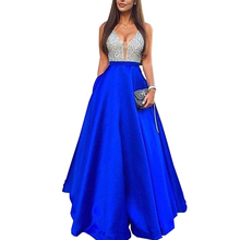 Women Sequins Dress Spliced Pleated Sleeveless Halter Backless Sexy Maxi Blue A-line Long Party Dresses Female Clothes