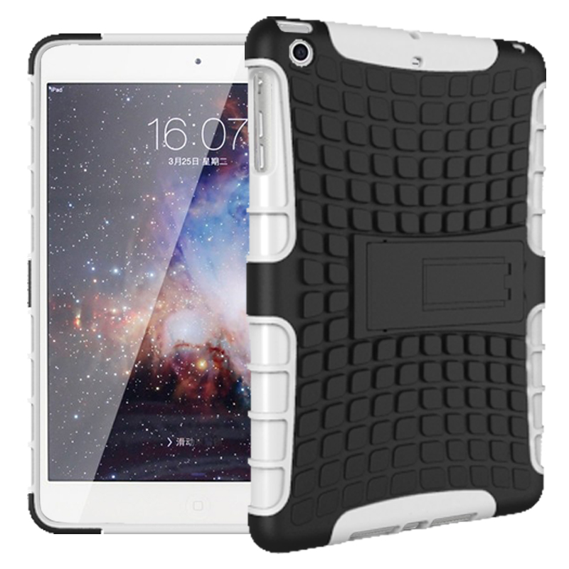 Tire Pattern Robot Silicon Heavy Duty Rugged Armor Hybrid Kick-Stand TPU + PC Shockproof Cover Case For Apple iPad Mini 1 2 3