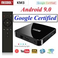 Mecool KM3 ТВ Google Сертифицированный Смарт ТВ-бокс Android 9,0 tv Box S905x2 двойной wifi с 4 K HDR Android tv потокового медиаплеера