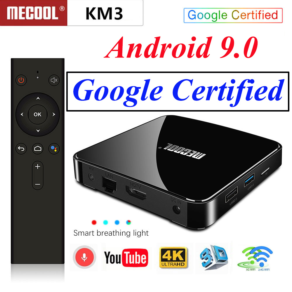 Mecool KM3 ATV Google certifié Smart TV Box Android 9.0 TV Box S905x2 Double wifi avec lecteur multimédia de Streaming TV Android 4 K HDR