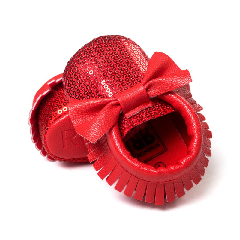 Toddler Baby Tassel Bowknot Beading PU Leather Soft Bottom Shoes First Walkers 0-18M LH6s