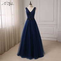 ADLN New Navy Prom Dresses Long 2017 Deep V Neck Sleeveless Sexy A Line Tulle Prom