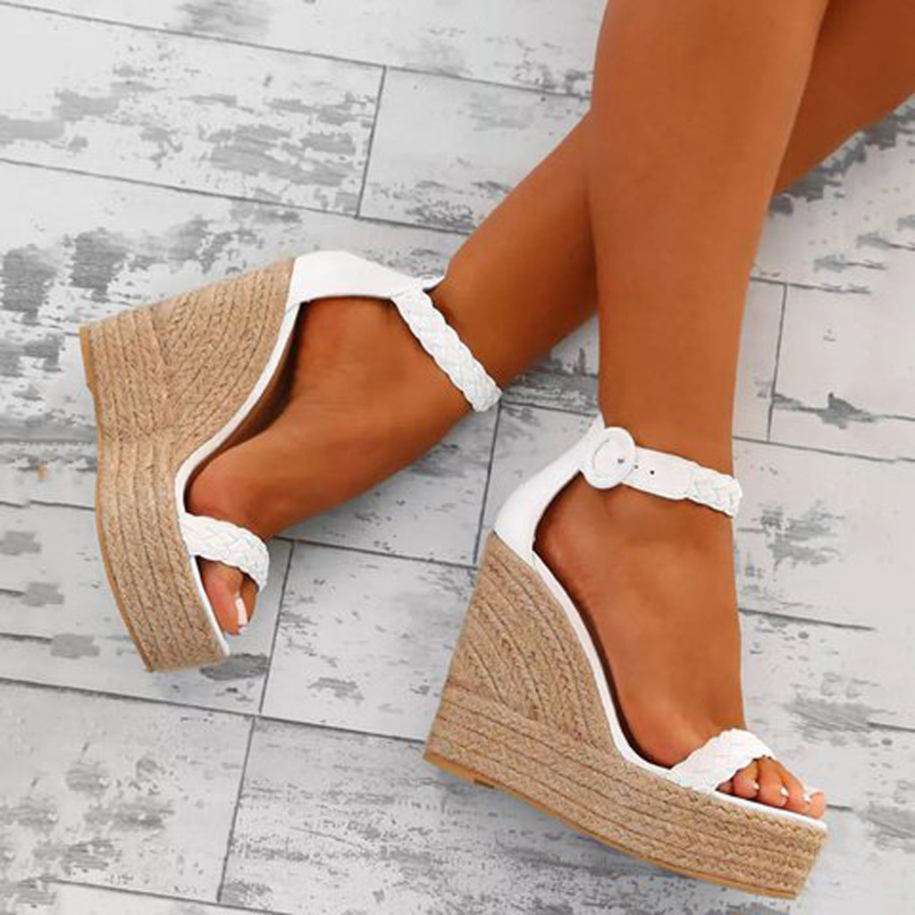 MUQGEW Wedges Shoes For Women Retro Sandals High Heels
