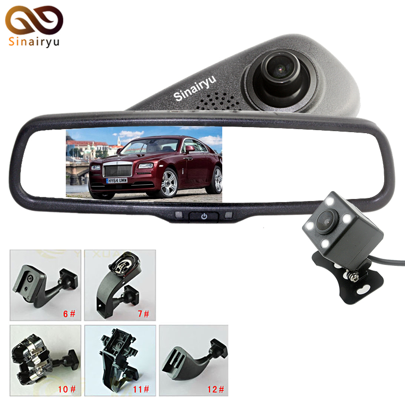 Full 1920*1080P 170 Degree Car DVR Camera Video Recorder Black Box With HD 5 Inch Bracket Rearview Mirror Parking Monitor