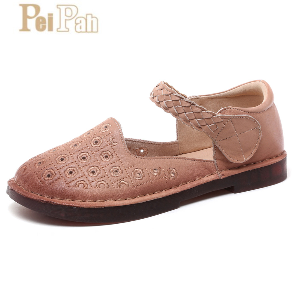PEIPAH 2019 Summer New Genuine Leather Women Flats Soft Bottom Zapatillas Mujer Comfortable Casual Wild Hollow Mary Jane Shoes PEIPAH 2019 Summer New Genuine Leather Women Flats Soft Bottom Zapatillas Mujer Comfortable Casual Wild Hollow Mary Jane Shoes