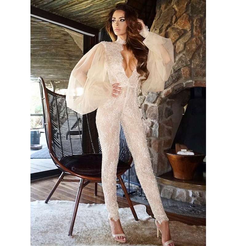 c4b58da4f38 2018 New Women Elegant Long Sleeve Sexy Hollow Out Patchwork Fashion White  Celebrity Night Out Party