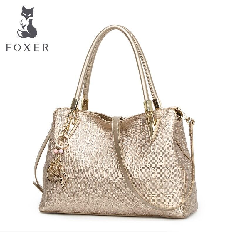FOXER Для женщин из коровьей кожи сумка Crossbody Сумки Женская мода сумка универсальная Топ-ручка сумка кошелек
