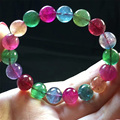 High Quality Natural Top Grade Genuine Colorful Mix Blue Tourmaline Multi-color Stretch Bracelet Round Big Beads 11mm 04416