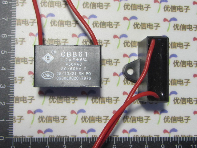 Free Ship High Quality 10pcs CBB61 <font><b>1.2UF</b></font>/450V 5% AC starting <font><b>capacitor</b></font> , electronics fan ,anti-explosion LINE: 10CM image
