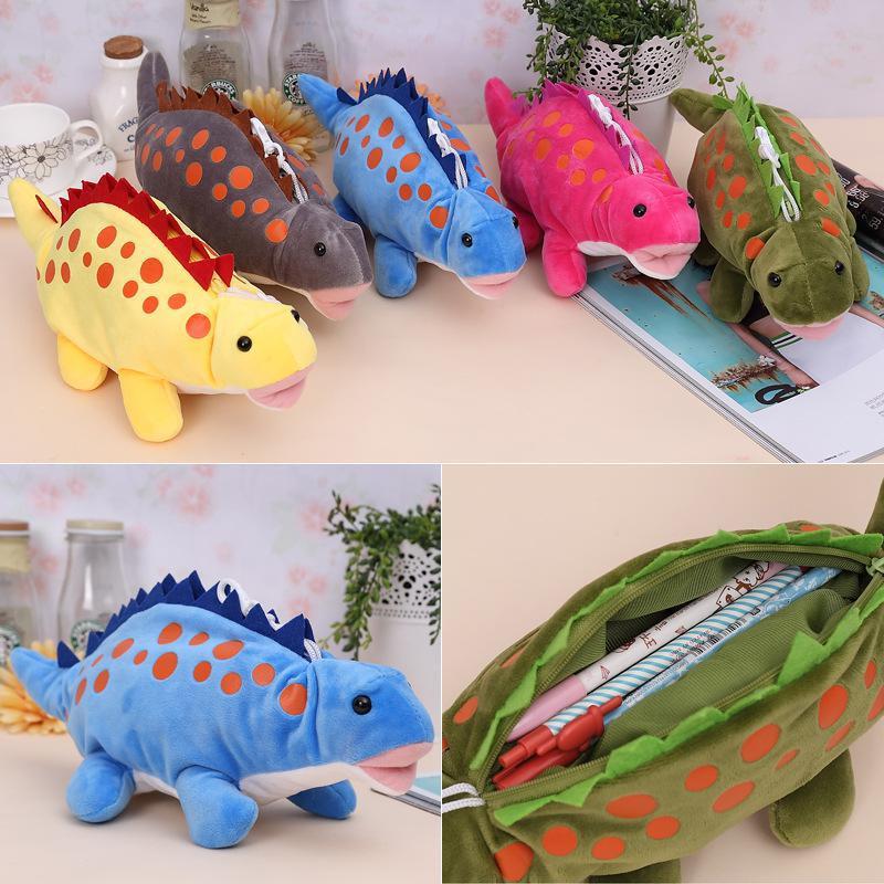 Pencil-Bag Stuffed-Toy Dinosaur Dragon Plush Funny Cartoon Stationery Zero-Case Creative