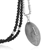 BLEUM CADE Black Natural Agate Stone Beaded Necklace,Stainless Steel Rugby Pendant Necklace