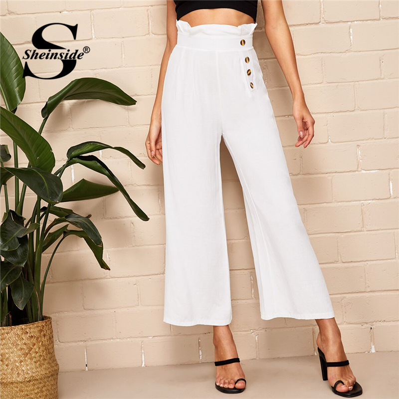Sheinside Casual White Button Detail High Waist   Pants   Women 2019 Summer Paperbag Waist Crop Trousers Ladies Solid   Wide     Leg     Pants
