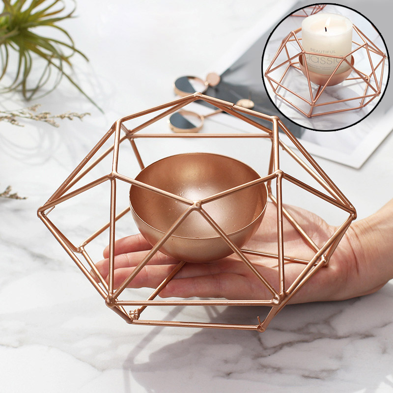 Metal Wire Candlestick Geometry Tealight Candle Holders Tabletop Craft Home Decor Gift Hot Sale
