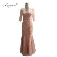 Leeymon Real sample 3/4 sleeves Mother of the Bride Dress 2017 Dusty Pink Mother Dress for Wedding Party Prom Dress RE2154