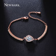 NEWBARK Pear Shape Pendant Size Adjustable Bracelets For Women CZ Diamond Prong Setting Rose Gold Plated Friendship Gift Jewelry