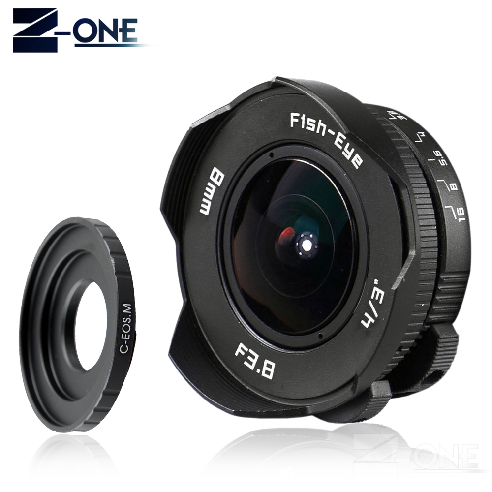NEW 8mm F3.8 Fish-eye C mount Wide Angle Fisheye Lens Focal length Fish eye Lens Suit For Canon EOS M M2 M3 M5 M6 M10 Mirrorless aps c cl mil7528n 7 5mm f2 8 fish eye wide angle lens suit for fujifilm fx nex micro 4 3 eos m with lens wrist strap